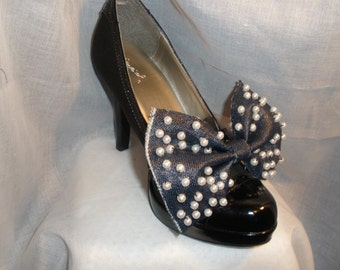 Beautiful Hand Beaded Pearly Bow Shoe Wrap for You High Heel Shoes is Made To Order Only