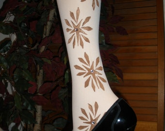 Fabulous and Unique Looking Embellished Custom Painted Womens Knee Highs