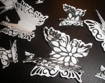 20 Fabulous Black and White Double Wing Butterflies ,3D, Art, Paper, Wall Decor,Girl Room, Nursery, Wedding, Baby Shower