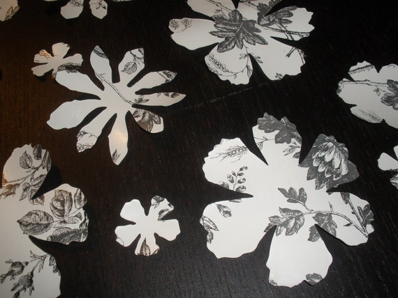 24 Attractive Black and White Vinyl Floral Decals, Wall Decals, Wall Decor, Decal Stickers, Decals, Wall Art, Nursery, Kids & Teens Room,