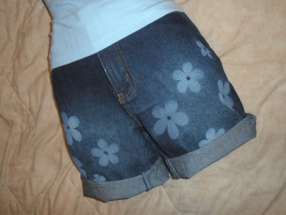 Cute Cut Off Denim Shorts with Painted on Daisies Size
