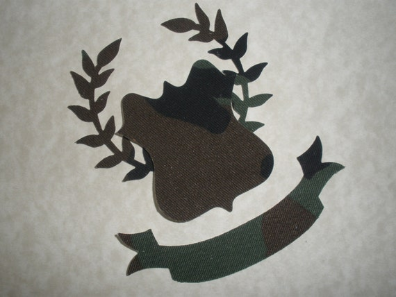 Amry Green Camouflage Regal Crest Applique Iron On
