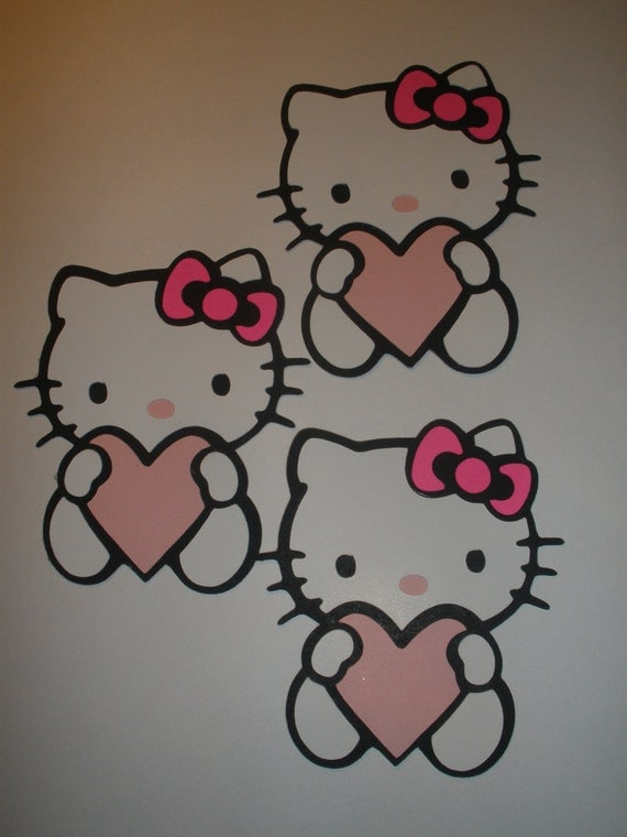 Hello Kitty with Heart Cricut Cartridge Layer Die Cuts, Hello Kitty Shapes, Card Making, Scrapbooking, Tag MakingFrom Dim