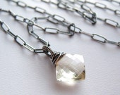 Parchment... Scapolite Gemstone Oxidized Sterling Silver Necklace