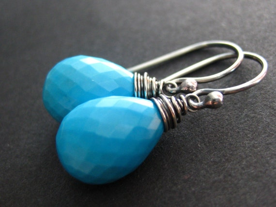 Sale - Seasoned ... Turquoise and Oxidized Sterling Silver Earrings
