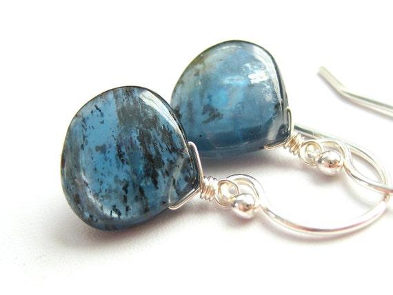 Pebble... Moss Teal Kyanite Sterling Silver Earrings