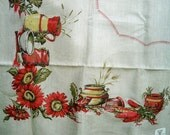 Vintage Victory KB Hand Prints Sunflower Tablecloth MWT 52 x 70 inches