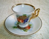 Vintage Ucagco Fruit Demitasse  Footed Tea Cup and Saucer Apples Grapes Pineapple