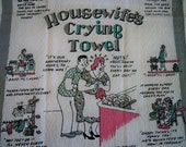 Vintage Housewifes Cartoon Crying Towel Mint MWT