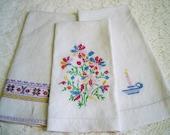 Vintage Embroidered Floral Scandinavian Guest Towels
