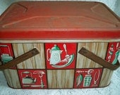 Vintage 1950s Decoware Picnic Basket Kitchen BBQ Kitsch