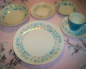 Vintage Royal China Blue Heaven 6 Piece Place Setting Mid Century Modern