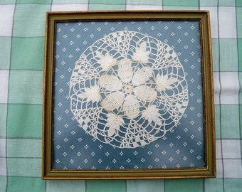 SALE! Vintage Crocheted Doily In Wooden Picture Frame