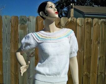 SALE! Vintage Ladies Candy Stripe Pastel Yoke Sweater Handmade