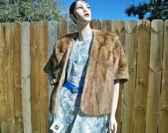 SALE! REDUCED! Vintage Mahogany Dawn Mink Fur Stole Wrap Reglazed