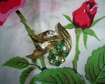 Vintage Green Rhinestone Leaf Brooch