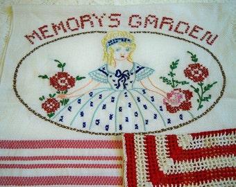 SALE! Vintage Memorys Garden Kitchen Towel Crocheted Dishcloth Set