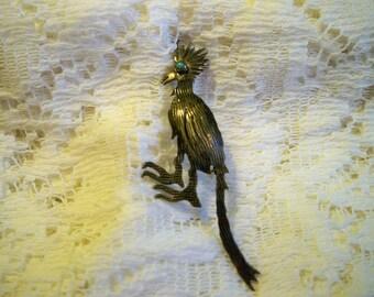 SALE! Vintage Exotic Bird Silvertone Brooch