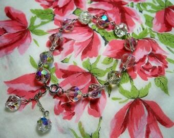 Vintage 1950s Monet Aurora Borealis Crystal Bracelet
