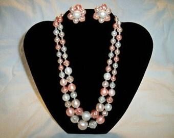 SALE! Vintage 1950's Ladies Peachy Pink Necklace and Earrings