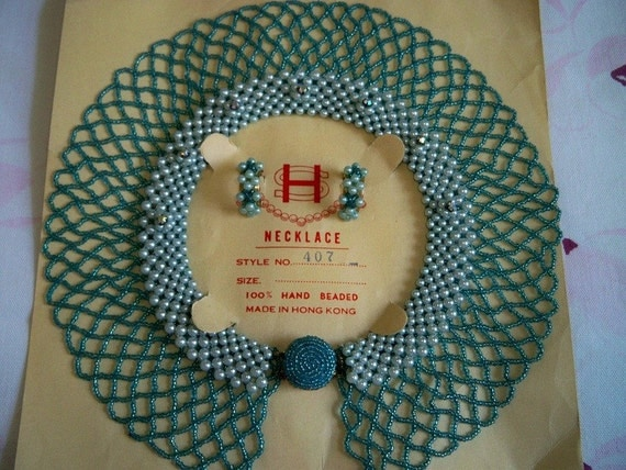 Vintage Green Beaded Pearl Rhinestone Necklace Collar Earrings Mint Wedding Bridal