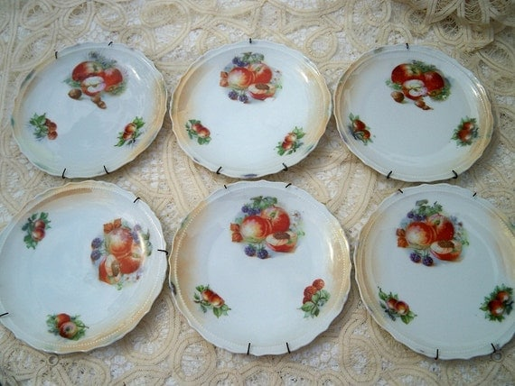 Vintage Fruit and Nut China Plates Set of Six Bread and Butter or Dessert Size