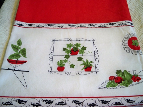Vintage Eames Era Mid Century Modern Flower Pots Fruit Tablecloth