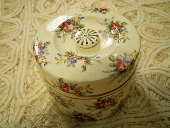 Vintage 1930s Chintz Powder Box Dresser Vanity Trinket Box