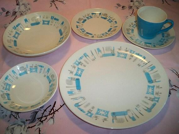 Vintage Royal China Blue Heaven 6 Piece Place Setting SALE