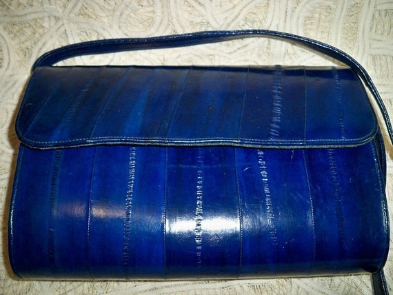 Vintage Navy Eel Skin Purse Handbag SALE