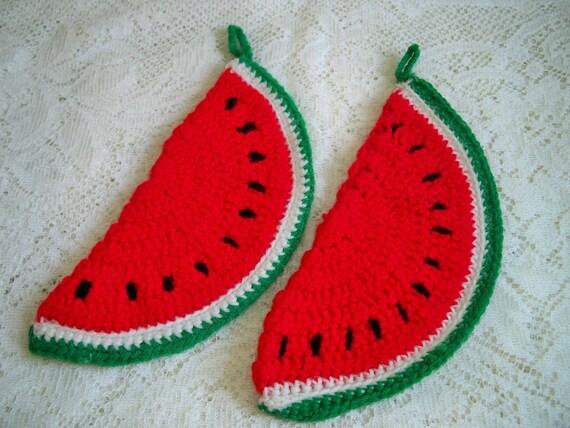 Vintage Crocheted Watermelon Slice Kitchen Fruit Potholders Pair Handmade