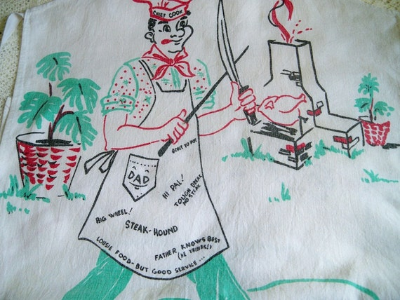 Vintage 1940s Full Bib Apron BBQ Chef Pigs Cartoon Print