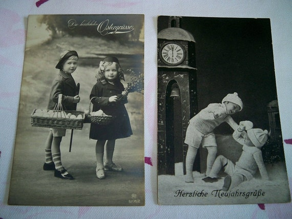SALE! Vintage 1930s German Holiday Postcards and CB Postcard