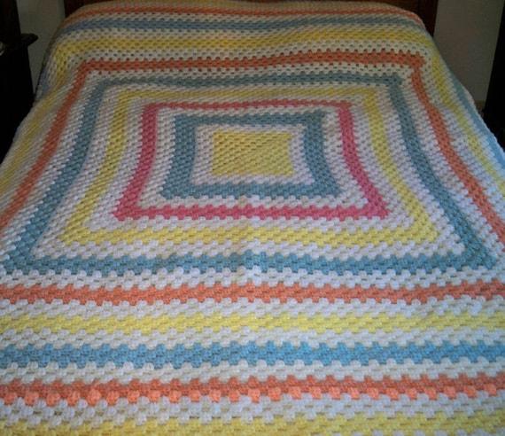 Vintage 1960s Crocheted Bedspread Blanket Pastel Colors Handmade