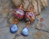 Handmade Tie Dye Lampwork and Kyanite Drop Earrings