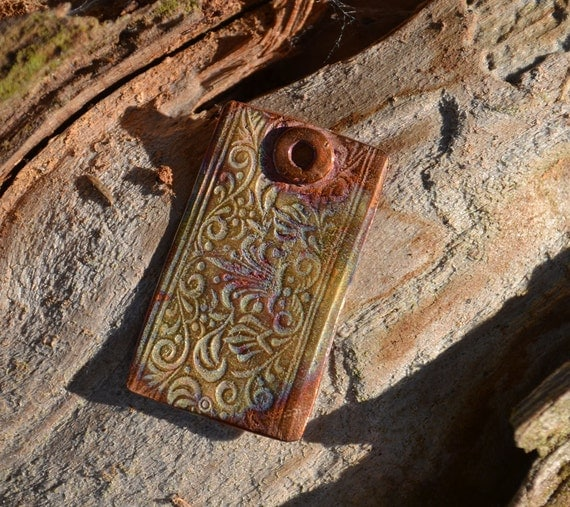 Handmade Copper Old World Rectangle Pendant