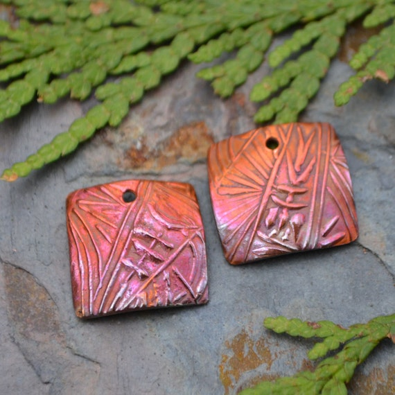 Handmade Copper Bamboo Square (one pair)