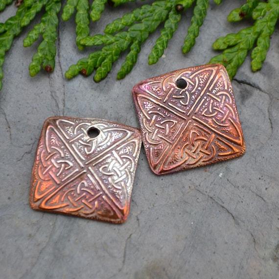 Handmade Copper Celtic Square (one pair)