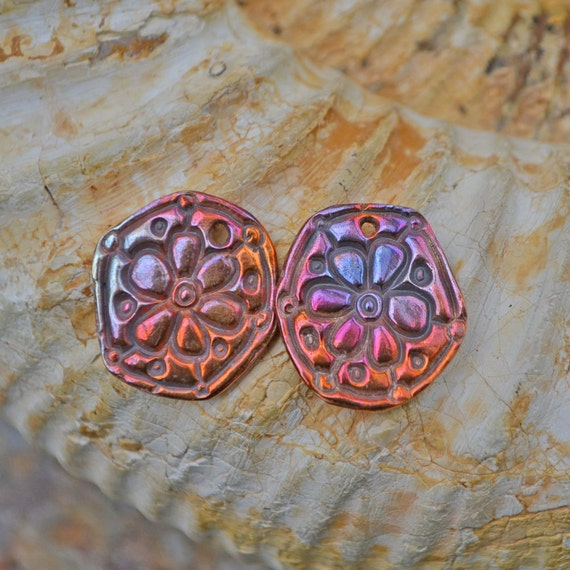 Handmade Copper Fun Six Sided Flower  (1 pair)
