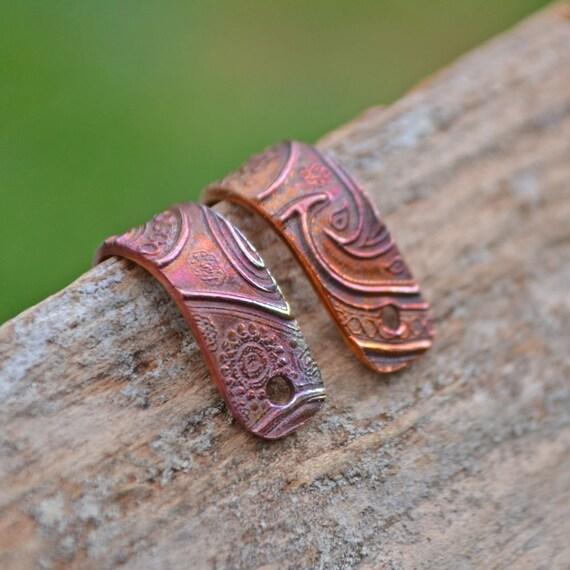 Handmade Copper Just Paisley Earring/Bead Bail one (1) Pair