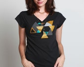 Metallic Geometrics -- Womens tshirt -- SMALL -- Triangle screenprint on black tshirt -- FREE Shipping in the US