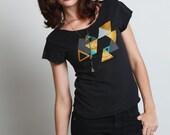 Metallic Geometrics -- Womens tshirt -- MEDIUM -- Triangle screenprint on black tshirt -- FREE Shipping in the US