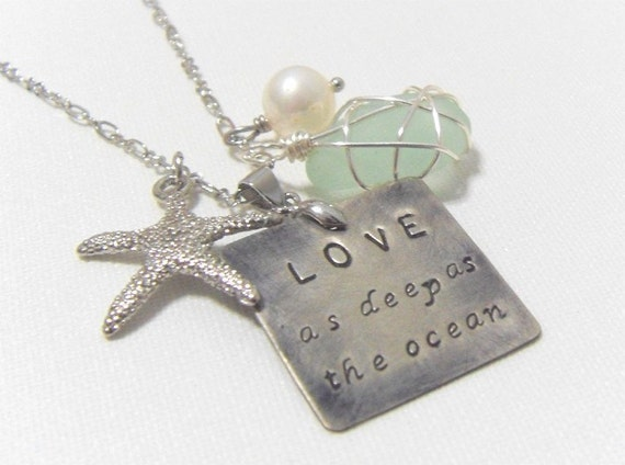 Love as deep as Ocean. starfish, coral, shell, sea glass crystal necklace, freshwater pearl, sterling silver wedding perfect gift sister mo
