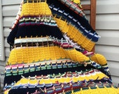 Gold and Navy Ribbed Signature Ranch Scrap Afghan