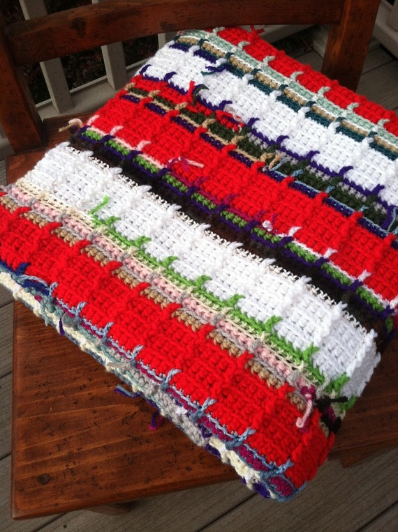 Scarlet and White Ribbed Signature Ranch Afghan