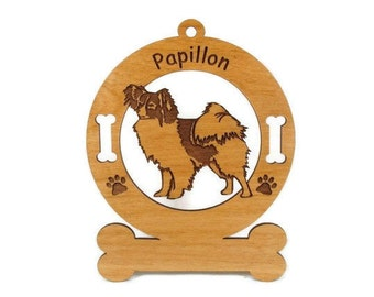 3655 Papillon Standing Personalized Dog Ornament