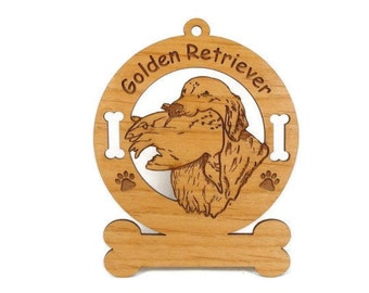 3249 Golden Retriever Hunting Personalized Dog Ornament - Free Shipping