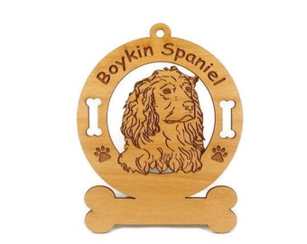 1963 Boykin Spaniel Head Personalized Wood Ornament