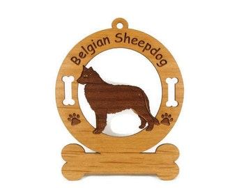 1636 Belgian Sheepdog Standing Personalized Ornament - Free Shipping