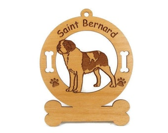 4121 Smooth Saint Bernard Personalized Dog Ornament